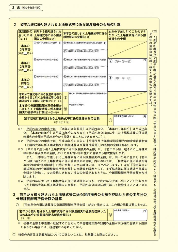 確定申告書付表2